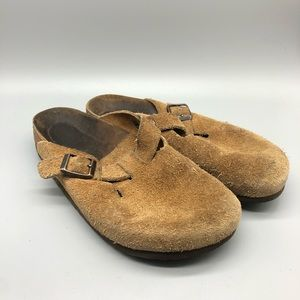 Birkenstock Boston brown suede slides clogs mules